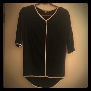 Black with white piping long 3/4 sleeve tee